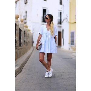 ZARA Low Cut Jumpsuit Dress Blue Shapless S